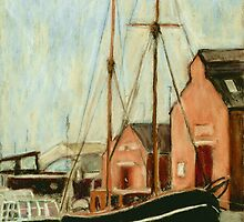Old Sailing Boat in Gloucester Docks by Judy Adamson