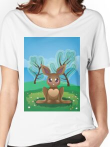 Brown Rabbit on Lawn 2 Women's Relaxed Fit T-Shirt