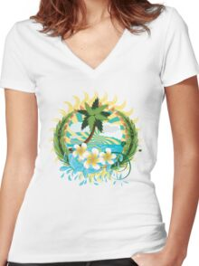 Tropic island Women's Fitted V-Neck T-Shirt