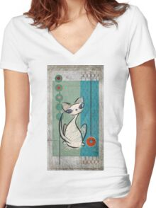 Mid Century Modern: Lil Miss Purrfect Women's Fitted V-Neck T-Shirt