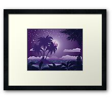 Tropical island at night Framed Print
