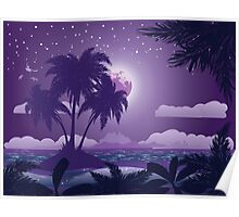 Tropical island at night Poster
