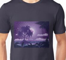 Tropical island at night Unisex T-Shirt