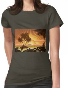 Sunset tropical island Womens Fitted T-Shirt
