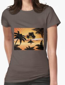 Sunset tropical island 2 Womens Fitted T-Shirt