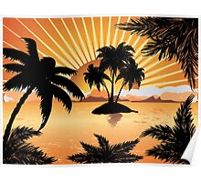 Sunset tropical island 2 Poster