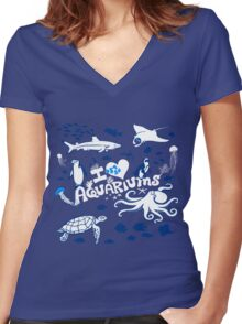 Love Aquariums (blue) Women's Fitted V-Neck T-Shirt