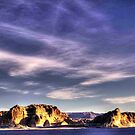 Sunrise at Lake Powell Above the Glen Canyon Dam by Roger Passman
