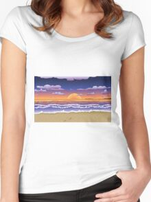 Sunset on tropical beach Women's Fitted Scoop T-Shirt