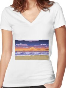 Sunset on tropical beach Women's Fitted V-Neck T-Shirt