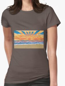 Sunset on tropical beach 2 Womens Fitted T-Shirt