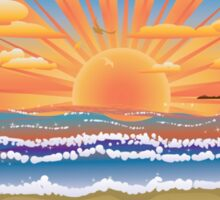 Sunset on tropical beach 2 Sticker