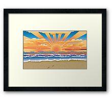Sunset on tropical beach 2 Framed Print