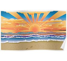 Sunset on tropical beach 2 Poster