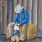 My Best Buddy ~ Australian Shepherd ~ Western Oil Painting by Barbara Applegate