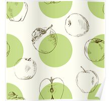 seamless pattern made of scattered decorative apples Poster