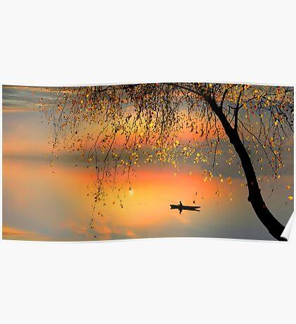Fishing Sunset Poster