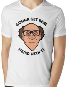 Frank Reynolds getting real weird with it. Mens V-Neck T-Shirt