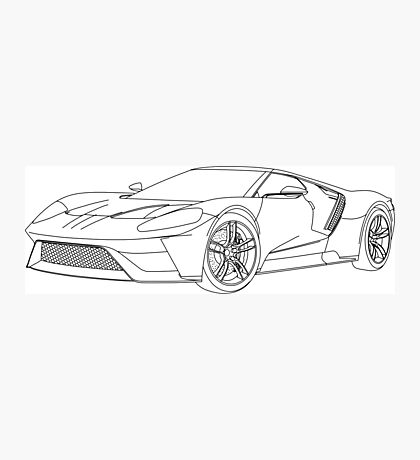 2016 Ford GT, Forza 6 Motorsport Game Cover Car, Black no Fill Photographic Print