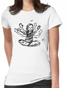 Hindu Jesus Scribble Doodle Womens Fitted T-Shirt