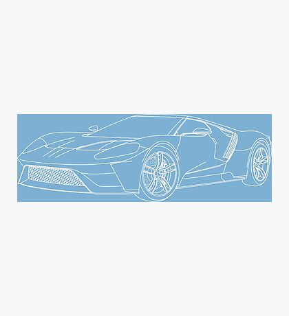 2016 Ford GT, Forza 6 Motorsport Game Cover Car, White no Fill Photographic Print