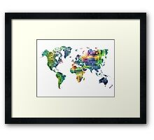 Map of the world geometric Framed Print