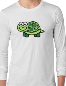Green comic turtle Long Sleeve T-Shirt