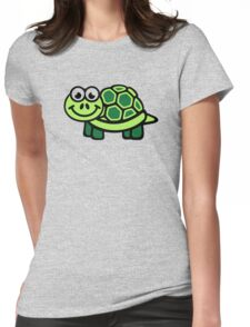 Green comic turtle Womens Fitted T-Shirt