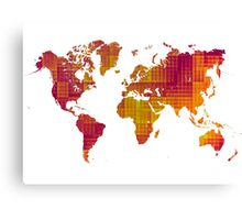 World map orange cube Canvas Print
