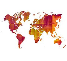 World map orange cube Photographic Print