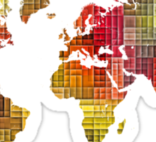 Map of the world colored cube Sticker