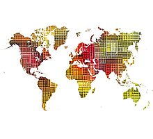 Map of the world colored cube Photographic Print