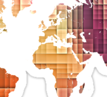 Map of the world pastel cube Sticker