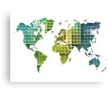 Map of the world green cube Canvas Print