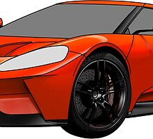 2016 Ford GT, Forza 6 Motorsport Game Cover Car, Black with Red colour Fill by Adamasage