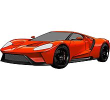2016 Ford GT, Forza 6 Motorsport Game Cover Car, Black with Red colour Fill Photographic Print