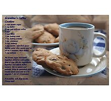 Grandma's Coffee Cookies (recipe) w/ white border Photographic Print