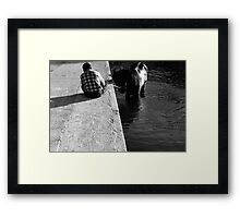 Cooling a horse in the port of Gozo (Malta) Framed Print
