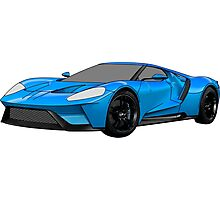2016 Ford GT, Forza 6 Motorsport Game Cover Car, Black with Blue colour Fill Photographic Print