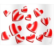 Candy Stripe Hearts Poster