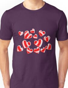 Candy Stripe Hearts Unisex T-Shirt