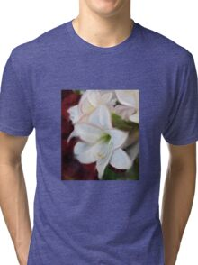 ABSTRACT WHITE AMARYLLIS Tri-blend T-Shirt