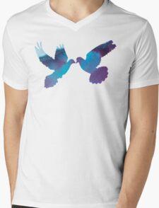 Watercolor Doves Mens V-Neck T-Shirt