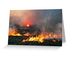Prairie Burn Sunset in Kansas Greeting Card