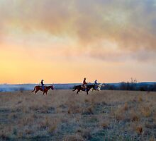 Three Riders in the Flint Hills of Kansas by Catherine Sherman