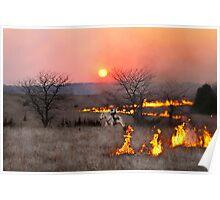 Kansas Rancher Checks Fire Line Poster