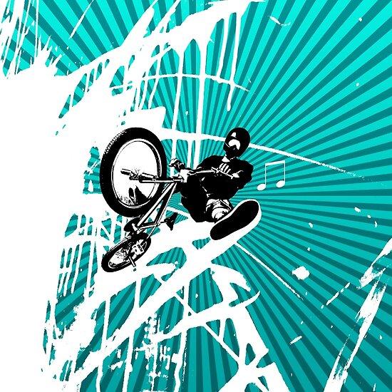 BMX Pop Art Blue by JayBakkerArt