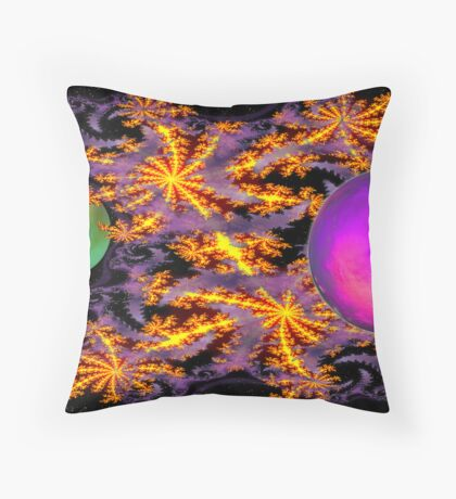 Intergalactic Fractal Fireworks (With Fractal Smoke) Throw Pillow