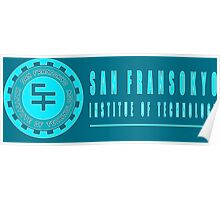 San Fransokyo institute of technology blue neon logo white outline, blue fill Poster