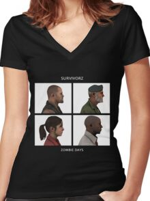 Left 4 Dead: Zombie Days Women's Fitted V-Neck T-Shirt